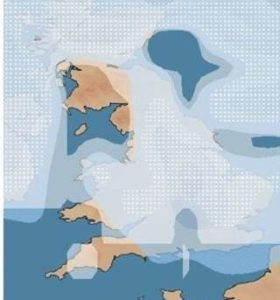 Map of UK showing areas for Cold Weather Payment
